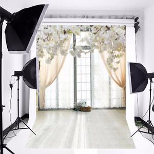 5x7FT Vinyl Photographic Hintergrund Weiß Gras Blumen Fenster Plank für Hochzeit Hintergrund Studio Fotografie Requisiten