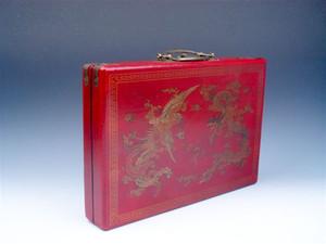 144 tuiles mah-jong finition rouge cuir Dragon Phoenix Fireball boîte en bois dés