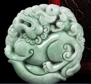 50 * 50 * 14 мм TJP Натуральный жадеит нефритовый Ice nuo zhong Двухсторонний кулон PIXIU Yu Pei Jade кулон ожерелье для женщин и мужчин
