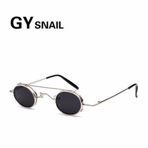 GY CARACOL góticas Rodada Sunglasses Men Retro Marca Vintage pequeno steampunk sol Óculos Mulheres liga oval googles homens uv400