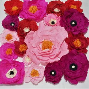 Krep Kağıt Çiçekler Zemin Dev Kağıt Çiçekler Duvar Yapay Çiçek Kreş Doğum Günü Deco Düğün Çiçekler 18 adet 1MX1M