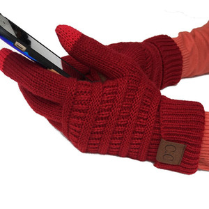 CC Guanti invernali a maglia Guanti touch screen Inverno CC maglia Touch Screen Smart Cellphone Five Fingers Gloves Alta qualità