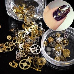 1 Box Ultra-thin Steam Punk Parts Style Nail Studs Gold 3D Nail Art Decorations Time Wheel Metal Manicure DIY Tips Art N02