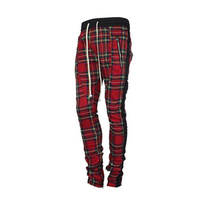 Mens escocesas de celosía Sweatpants Joggers 2018 Hip-hop de la vendimia Negro rayado con cierre de tiras Zip tela escocesa Pantalones deportivos