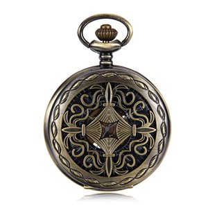 Elegant Wind Up Mechanical Skeleton Mens Pocket Watch Bronze Tone Chinese knot Case Black Dial w Chain relogio de bolso New