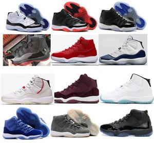 L'alta qualità 11 11s Leggenda Blu Nero Rosso Cool Grey donne degli uomini dei pattini di pallacanestro 11s Grey Suede Blue Velvet scarpe da tennis con le scarpe di sicurezza
