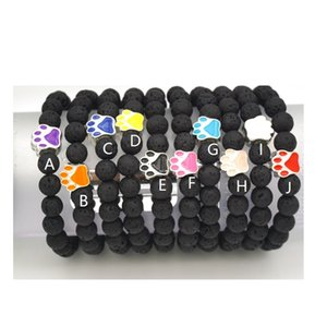 10 Colors Dog Paw 8mm Black Lava Stone Beads Bracelet Essential Oil Diffuser Bracelet Volcanic Rock Footprint Beaded Hand Strings