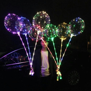 Luminous BOBO Balloon with Stick 3 Meters LED Light Up Transparent Balloons with Pole Stick for Holiday Decorations