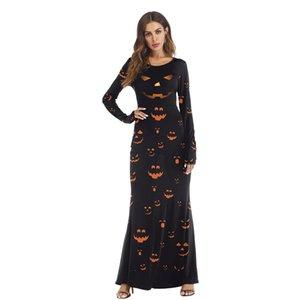 Ropa de Halloween Moda Calabaza Cosplay Disfraces O Cuello Fiesta Festavil Sexy largo Casual Mujeres Disfraces Dreess