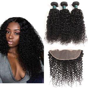 Kinky Curly 13 * 4 кружева фронтальные с пучками самого высокого качества бразильские девственницы человеческие волосы плетение 3 пакета с лобными волосами 12-26 дюйма