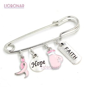 Free Shipping New Arrival Jewelry Breast Cancer Awareness Brooch Pin Hope Faith Fighting Box Glove Pink Ribbon Charms Safety Pins