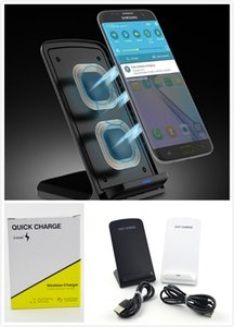 2 Spulen Wireless Charger Schnelle Qi Wireless Charging Stand Pad für iPhone X 8 8Plus Samsung Note 8 S8 S7 Edge Kleinkasten