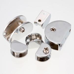 도매 10PCS 실버 스테인레스 스틸 하프 라운드 크롬 유리 클램프 브래킷 홀더 두께 3SIZE 무료 배송을 선택하십시오