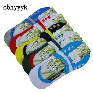 5 paia di calzini in fibra di bambù uomini colorati calzini invisibili alla caviglia antiscivolo estate casual pantofole fannullone felice