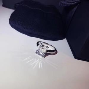 Ag925 الفضة النقية أعلى جودة باريس تصميم خاتم سوليتير مع مربع التوت بريل المجوهرات ختم الماس تزيين شعار سحر المرأة الزفاف