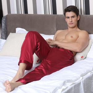TonyCandice Пижамные штаны Мужские атласные шелковые днища для сна Повседневные брюки Мужские пижамы Мужские длинные пижамные пижамы Мягкое нижнее белье