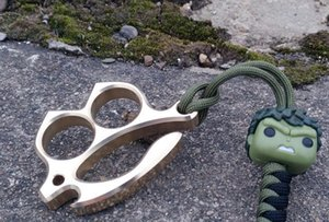 Pingente livre de Bronze Voador FishTwo Dedo Knuckle Duster Paperweight 120g CNC Usinado EDC Defesa Pessoal quickdraw 23mm Dedo diâmetro
