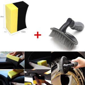 2018 llanta de la rueda del neumático de la rueda del coche del cepillo del cepillo + herramienta en forma de U del jabón de la esponja de la frotación de la herramienta del envío libre