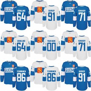 2016 Dünya Hokey Kupası Finlandiya Takım Forması 71 Leo Komarov 86 Teuvo Teravainen 91 Aleksander Barkov 64 Mikael Granlund Özel Hokey Forması