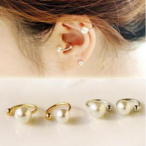 Perla oreja cuff moda mujer joyería de primavera simple elegante simulado perla no perforado Ear clip pendientes 2 tamaños 2 colores 120 unids