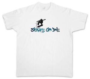 T-SHIRT SKATE OR DIE - Skateboard Skater Kickflip Demi-lune SK8 Acid Jeu