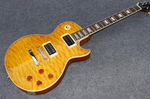 Novo estilo de cor amarela guitarra elétrica, En Kaliteli Özel mağazalar 2 captadores de Guitarra Elétrica, alev Maple Top guitarra