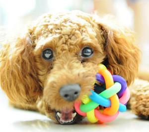 الكلب القط الحيوانات قوس قزح ملون المطاط جرس الصوت الكرة متعة اللعب لعبة للمنزل حديقة الحيوانات زينة مضحك