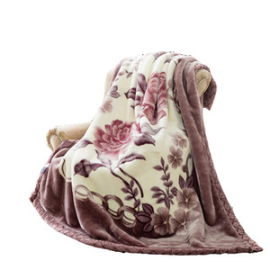 Double Layer Queen Size Fluffy Chunky Large Mink Blanket Super Soft Floral Print Raschel Throw Gruesa y cálida Faux Fur Bed Blanket