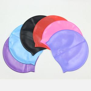 6Colours por mayor unisex multicolor de silicona Gorro de baño sólido para el pelo largo impermeable de buceo profesional de la natación Cap sombrero mantenerse seco de pelo