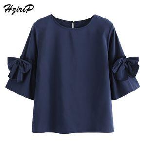 Hzirip Mujer Camisas de Gasa 2018 Primavera Tres Cuartos de Manga Sólido Azul Oscuro Blusa Señoras de Moda de Verano Tops Sueltos Más Tamaño