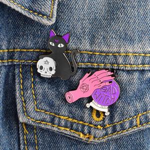 Sorcière broche en cristal chat noir mains sorcière balle crâne tête épingle ensemble broche émail dur Halloween Bijoux