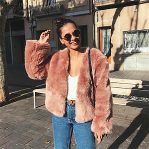 Dangal 2018 Nouvelles Femmes Manches Fausse Fourrure 6XL Femme Coréenne Custom Fit Fausse Fourrure Manteau Hiver Chaud Court Faux Manteau Noir Rose