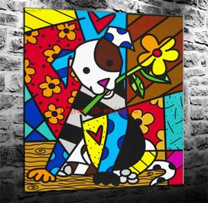 Romero Britto Chien, Peinture Sur Toile Salon Décor À La Maison Moderne Art Peinture À L'huile