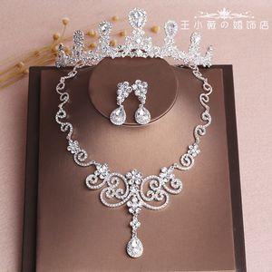 Nupcial do casamento de Prata Brilhante Conjunto de Jóias Coroa Mantilha Colar Brinco Acessórios Do Casamento Que Bling Bling Nova Chegada Cristais Headpieces