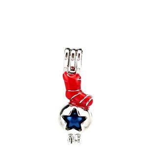 Argent émail joyeux Noël chaussettes rouges étoiles Huîtres Perles Cage Médaillon Pendentif Parfum Aromathérapie huiles essentielles diffuseur