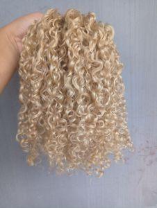 Yeni Stil Strong Çinli Virgin Remy Kıvırcık Saç Atkı İnsan En Saç Uzantıları 6130 # Renk 100g bir paket sarışın
