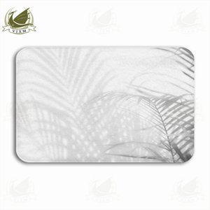 Vixm Abstract Background Of Shadow Palm Leaves On White Wall Welcome Door Mat Rugs Flannel Anti-slip Entrance Indoor Kitchen Bath Carpet