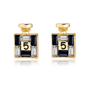 Nueva Llegada Moda Bijoux Gold Channel Pendientes para Las Mujeres Crystal Stud Earings adornos de personalidad femenina