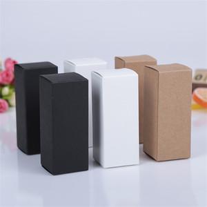 10 tamanho Preto branco Kraft papel caixa de papelão Batom Cosméticos Garrafa de Perfume Kraft Caixa De Papel Caixa De Embalagem De Óleo Essencial LZ1416