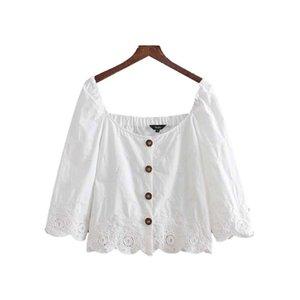 donne eleganti ricami crop top slash collo scava fuori occhiello camicetta bianca femminile corta stile cime dolci blusas