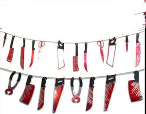 Halloween Banner Decorazione halloween appeso spaventoso Ciondolo appeso Haunted House Horror Spooky Blood Bodys and Knifes Tools