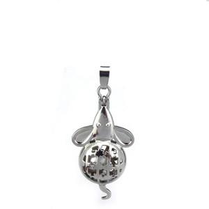 10 pz / lotto Argento Lega Carino Mouse Ratti Ostriche Magnetiche Perline Gabbia Ciondolo Locket Profumo Aromaterapia Oli Essenziali Diffusore