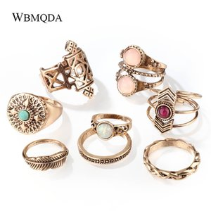 8 Pcs/lot  Gold Silver Opal Feather Knuckle Ring Set Vintage Geometric Midi Rings For Women Fashion Jewlery 2018