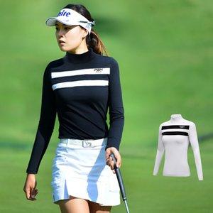 Automne 2019 Sportswear Femme Chemises Vêtements de golf Chemise à manches longues Femmes Sport Vêtements Stripe crème solaire creux de la vague