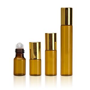 Ambre 3 ml 5 ml 10 ml rouleau sur la bouteille avec acier inoxydable Roller Ball Rollon bouteille huile essentielle liquide parfum D'or Cap
