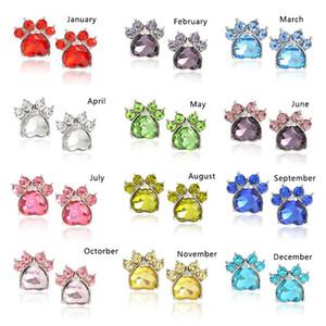 12 Farben böhmischen Birthstone Pet Paw Charms Ohrringe Stud Crystal Dog Footprint Ohrstecker Birthday Party Schmuck Geschenk für Frauen