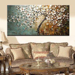 Sin marco HD imprimir Flower Tree Palette Cuchillo Grueso Pintura Al Óleo Sobre Lienzo Inicio Decoración de Pared Para la Sala de estar de Arte 50 CMx120 CM