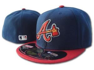 Braves hommes équipe équipée chapeau brodé bord brodé Une lettre logo fans de baseball Chapeaux Casquettes de baseball pas cher braves sur le terrain plein fermé cap