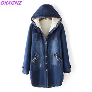 All'ingrosso-Inverno Donna Giacca di jeans affollamento cappotti New Fashion cotone con cappuccio Parka Plus Size Giacche donna caldo Casual Capispalla casual OKXGNZ