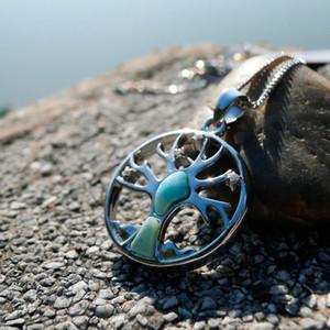 Стерлингового серебра 925 Дерево Жизни защиты кулон, природный ларимар драгоценный камень семьи Сакре Дерево Жизни очарование, духовные подвески